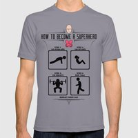 How to become a superhero Mens Fitted Tee Slate SMALL