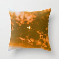 Orange Haze And White Su… Throw Pillow