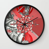 Red Samurai Reaper Wall Clock