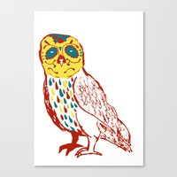 Sugar Skull Owl Canvas Print
