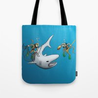 Monkeys Fighting Shark Tote Bag