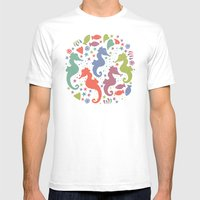 Dancing Seahorses Mens Fitted Tee White SMALL
