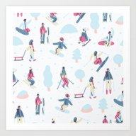 Skiing On The Mountain Art Print