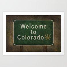 Welcome to Colorado (with marijuana leaf symbol), roadside sign illustration Art Print