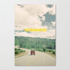 NEVER STOP EXPLORING - vintage volkswagen van Canvas Print
