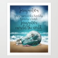 Fantasy Quote Wall Art - Imagination quote - Ocean View Imagination Art Print