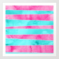 Turquoise Pink Hand Draw… Art Print