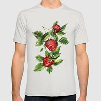 Raspberries Mens Fitted Tee Silver SMALL