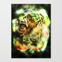 Animal - Grunge Watercolor - Tiger Canvas Print