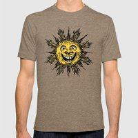 sun face - original yellow Mens Fitted Tee Tri-Coffee SMALL