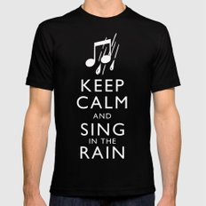 Keep Calm and Sing in the Rain Black SMALL Mens Fitted Tee