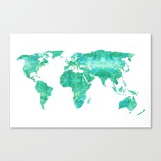 Watercolor World Map Canvas Print