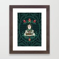 Yule Log Lady (in Green) Framed Art Print
