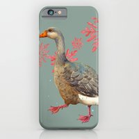 iPhone & iPod Case featuring Festive Goose, Nordic, Snowflakes, Traditional, goose by eastwitching