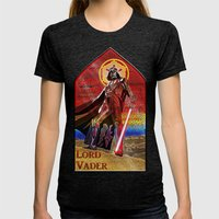 STAR WARS Stained Glass Lord Vader Womens Fitted Tee Tri-Black SMALL