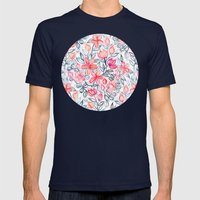 Coral and Grey Candy Striped Crayon Floral Mens Fitted Tee Navy SMALL