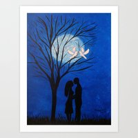 Moonlight Kisses Art Print