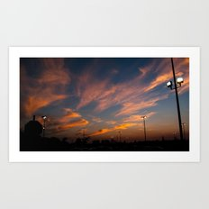 Purple-golden sunset  Art Print