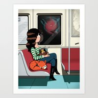 Subway Girl and Fox Art Print