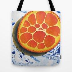 Orange on plate made where they speak Mandarin Tote Bag