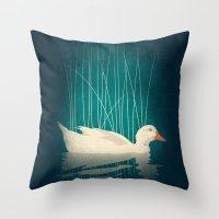 Duck Reflected Throw Pillow