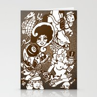 American Traditional Tattoo Collage (Brown) Stationery Cards