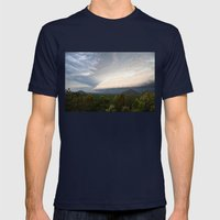 Storm clouds over Australian landscape Mens Fitted Tee Navy SMALL