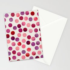 Watercolor Dots_Berry by zJacqueline and Garima Stationery Cards