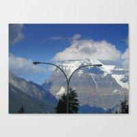 Rockies and streetlight Canvas Print