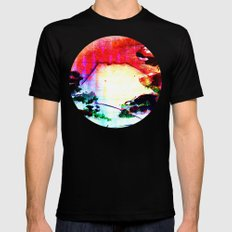 sunset Mountain Mens Fitted Tee Black SMALL