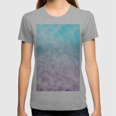 Watercolor Waves Womens Fitted Tee Athletic Grey SMALL