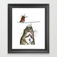 A Cat Ponders, Fish Or P… Framed Art Print