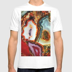 Agate, the Layers of our Earth SMALL Mens Fitted Tee White