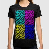 Zebra Print Collage  Womens Fitted Tee Tri-Black SMALL