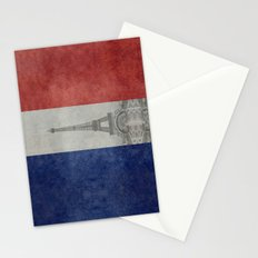 Distressed National Flag of France with Eiffel Tower insert Stationery Cards