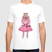 Capybara Ballerina  Mens Fitted Tee White SMALL