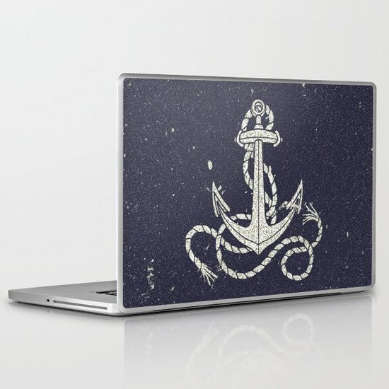 Navy Blue Nautical White Anchor for Sailor Texture Laptop & iPad Skin