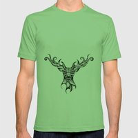 Henna Inspired Stag Head by Ashley-Rose Standish Mens Fitted Tee Grass SMALL