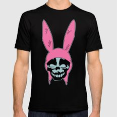 Grey Rabbit/Pink Ears Mens Fitted Tee Black SMALL