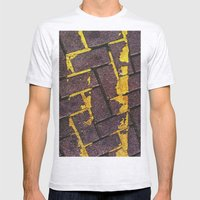 Yellow Lines Mens Fitted Tee Ash Grey SMALL