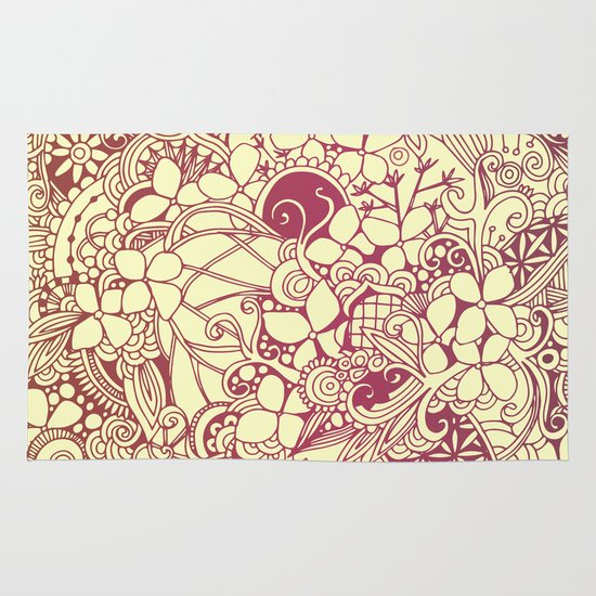 Yellow square, pink floral doodle, zentangle inspired art pattern Area & Throw Rug
