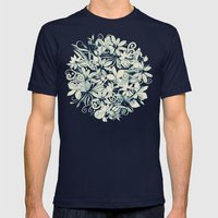Denim Flower Circle Mens Fitted Tee Navy SMALL