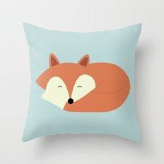 Sleepy Red Fox Throw Pillow