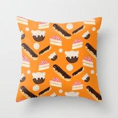 sweet things (on orange) Throw Pillow