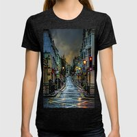 Wet Morning In Kemp Town Womens Fitted Tee Tri-Black SMALL