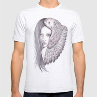 Alone With The Owl Mens Fitted Tee Ash Grey SMALL