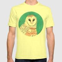 Barn Owl Mens Fitted Tee Lemon SMALL
