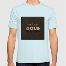 reach your GOLD Mens Fitted Tee Light Blue SMALL