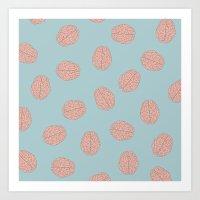 brain Art Prints featuring Brain  by Minimum