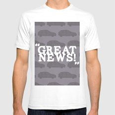 Great News SMALL White Mens Fitted Tee